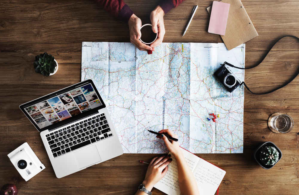 travel planning on table