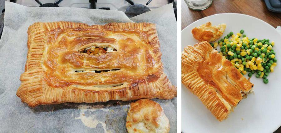 Butternut Squash Pie with Shallots, Radicchio, and Feta