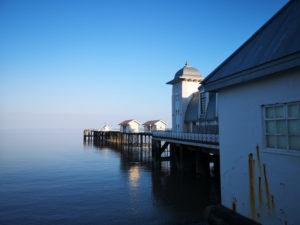 Susan Lyon, Penarth Pier water like a millpond at high tide.