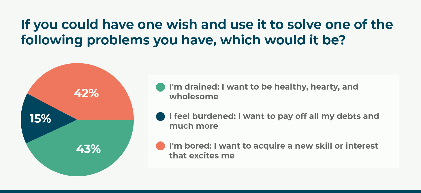 If you could have one wish and use it to solve one of the following problems you have, which would it be?